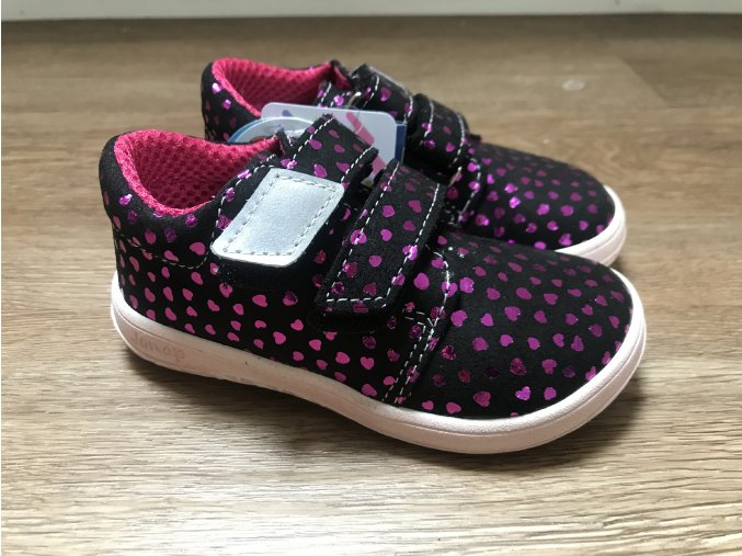 Jonap Barefoot model B1/SV (černorůžové srdce) - dětská celoroční obuv