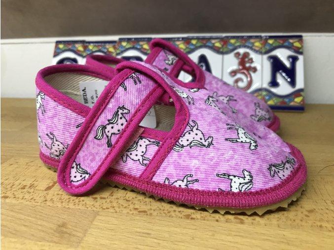 Beda Barefoot růžový koník - přezůvky (užší)