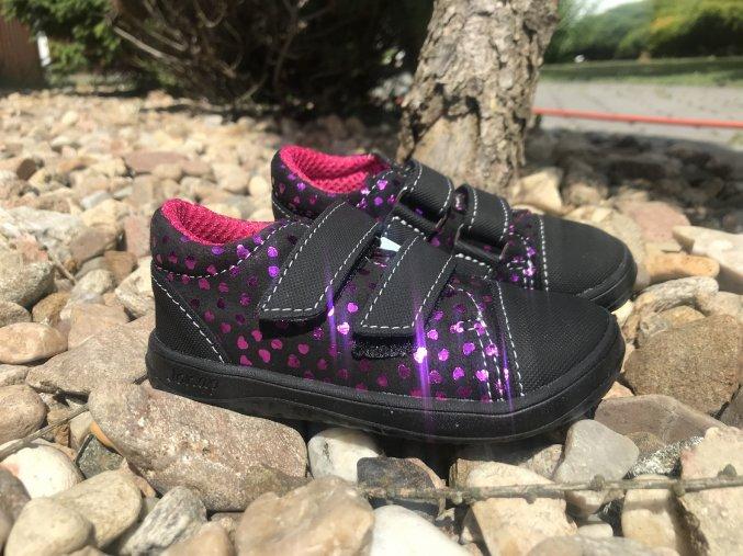Jonap Barefoot model B16/S (černorůžové srdce) - dětská celoroční obuv