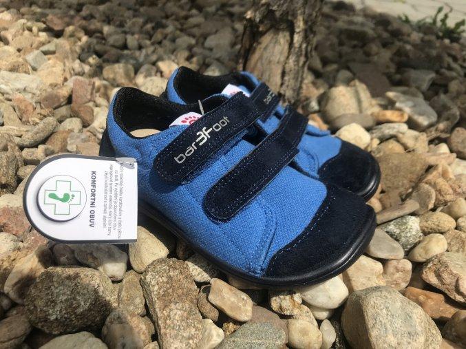 3F bar3Foot modré - dětské látkové tenisky
