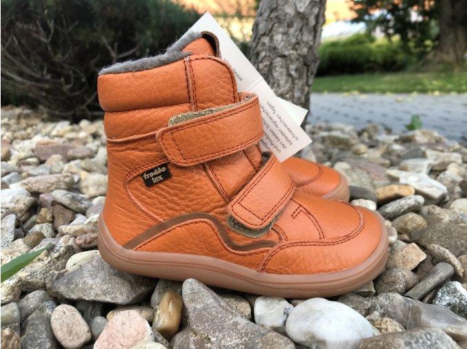 Froddo barefoot G3160164-1 (oranžové, s membránou) - dětská zimní obuv
