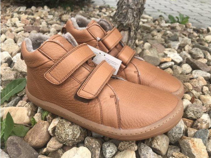 Froddo barefoot G3110195-3K (cognac) - kožená zimní obuv