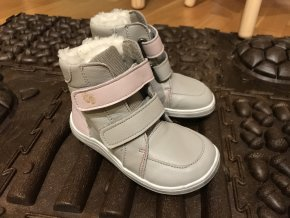 Baby Bare Shoes Febo Grey/Pink - dětská zimní obuv