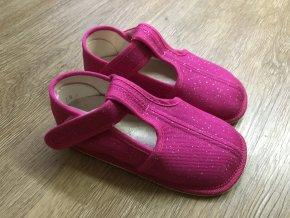 Beda Barefoot růžová třpytka - přezůvky (užší)