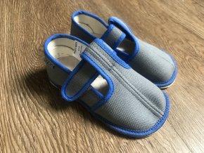 Beda Barefoot šedo-modré - přezůvky (užší)