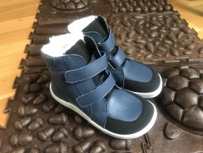 Baby Bare Shoes Febo Navy s okopem - dětská zimní obuv