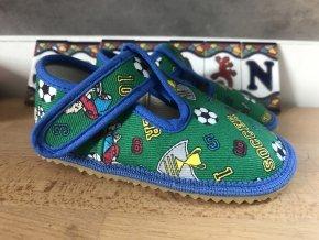 Beda Barefoot zelený fotbal - přezůvky (širší)