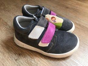 Jonap Barefoot model B1/SV SLIM (suchý zip, šedofialové) - dětská celoroční obuv