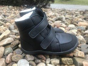 Baby Bare Shoes Febo Black s okopem - dětská zimní obuv