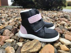Baby Bare Shoes Febo Sparkle/Black s okopem - dětská zimní obuv