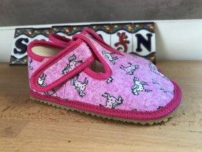 Beda Barefoot růžový koník - přezůvky (širší)