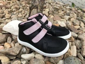 Baby Bare Shoes Febo Fall Black/Pink (okop) - dětská celoroční obuv