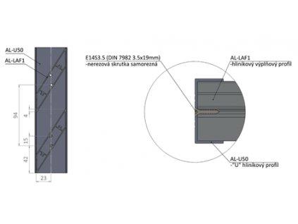 sesatava lamela AL LAF1 6 Profil AL U50 6