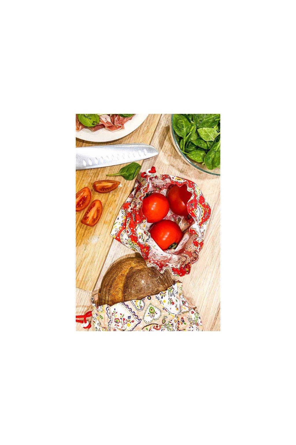 srdiečkové látkové bavlnené vrecko na ovocie, zeleninu, pečivo a chlebík • Vreckonos