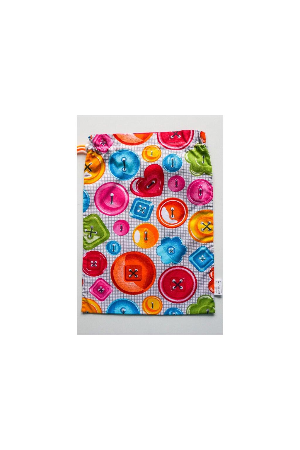 látkové bavlnené vrecko na ovocie, zeleninu, pečivo a chlebík •  motiv gombička Vreckonos
