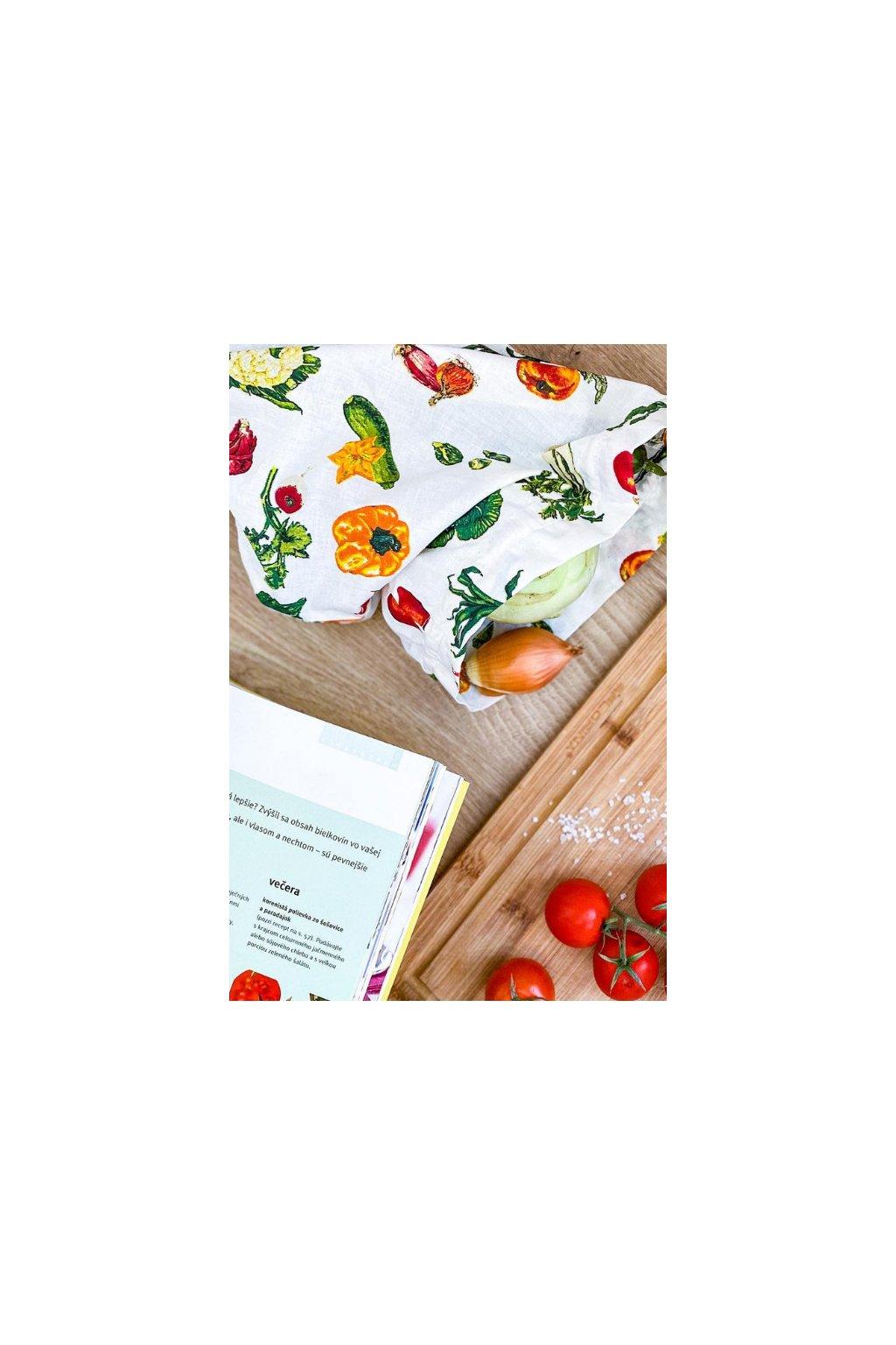 bavlnené zero-waste vrecko na ovocie zeleninu pečivo chlieb bylinky vreckonos