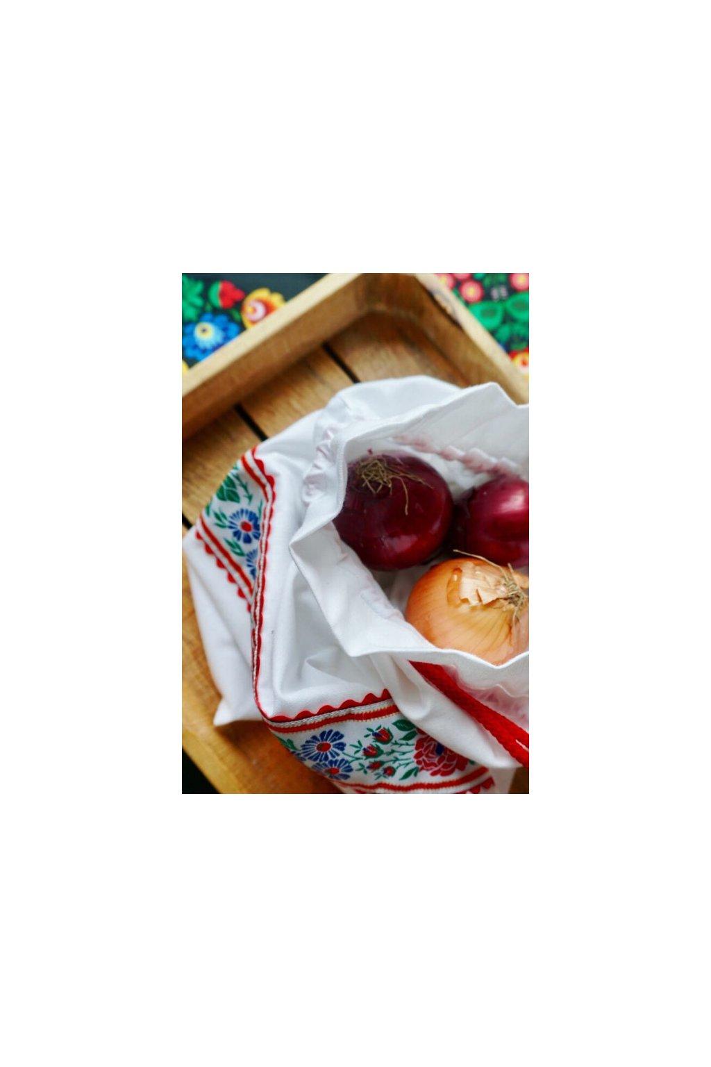 látkové folklórne vrecko na chlieb, pečivo, ovocie a zeleninu Vreckonos