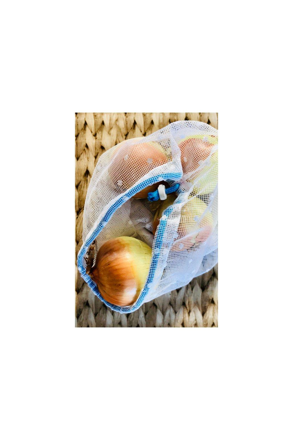 priehľadné záclonové sieťové vrecko na ovocie, zeleninu a pečivo pre zerowaste nakupovanie bez obalu - Vreckonos