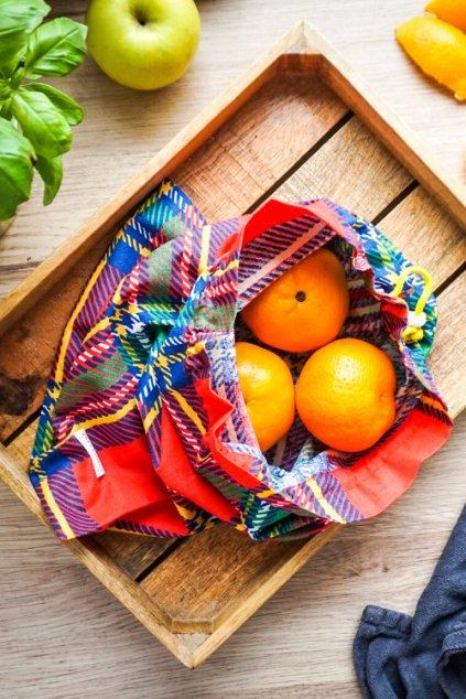 Látkové bavlnené vrecko na potraviny - kárované vrecko Vreckonos