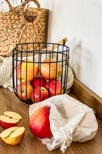 látkové bavlnené vrecko na ovocie, zeleninu, pečivo, kozmetiku či papučky - Vreckonos