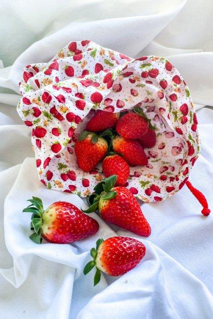 zero-waste látkové bavlnené vrecko na ovocie zeleninu a pečivo či chlieb jahodové Vreckonos