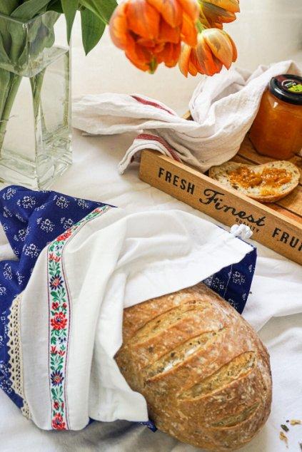 látkové bavlnené vrecko na ovocie, zeleninu, pečivo a chlebík • Vreckonos