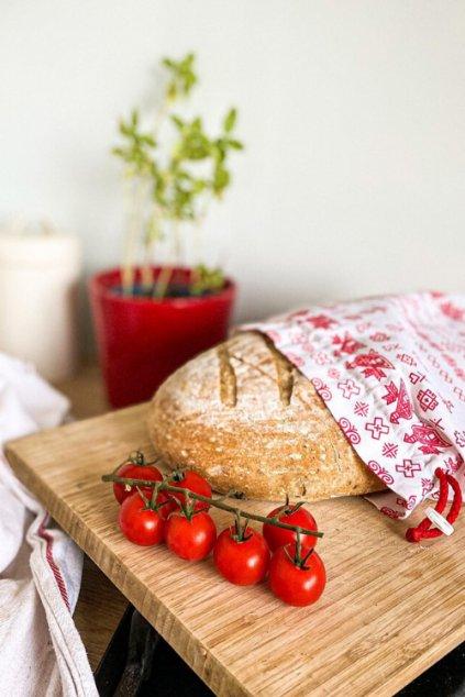 Látkové bavlnené vrecko na potraviny - folklórny motív Vreckonos