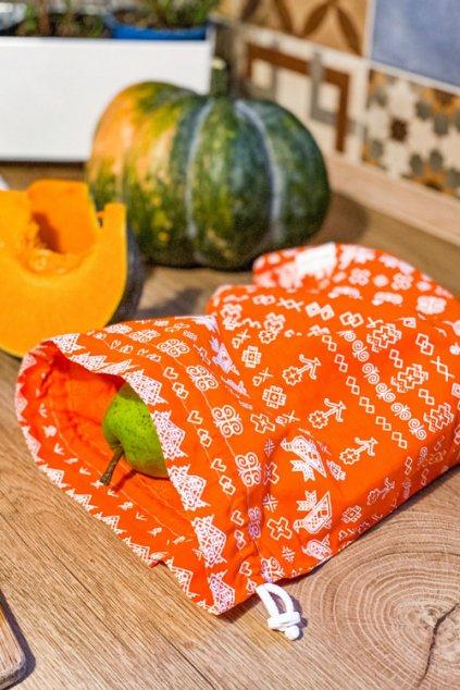 latkove vrecko na ovocie zeleninu chlieb pecivo Vreckonos oranzove cicmany II
