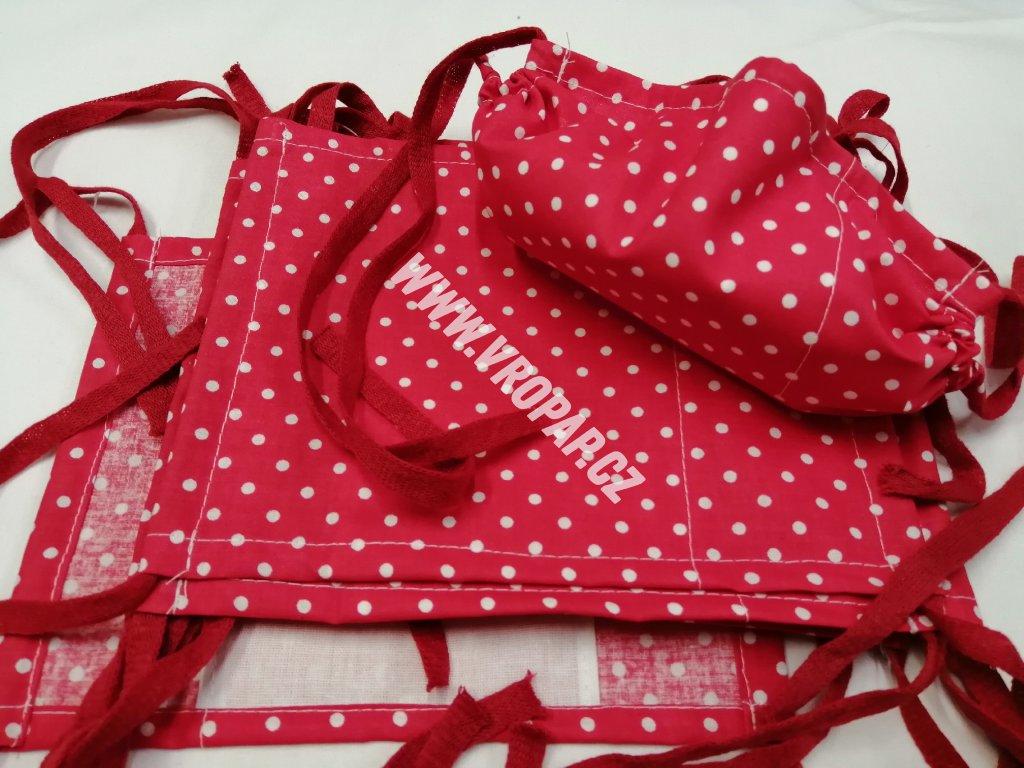 Rouška standard - Červená, bílé puntíky