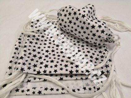 Rouška standard - Bílá černé hvězdičky
