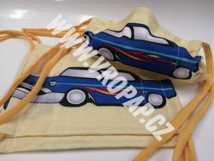 """Rouška junior - Auto """"cars"""" modré (6-12 let)"""
