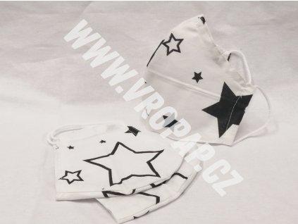 Anatomická rouška - Bílá, černé hvězdy