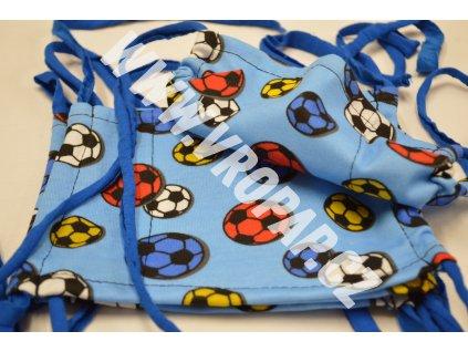 Rouška dětská - Fotbal. míč modrý (3-8 let)