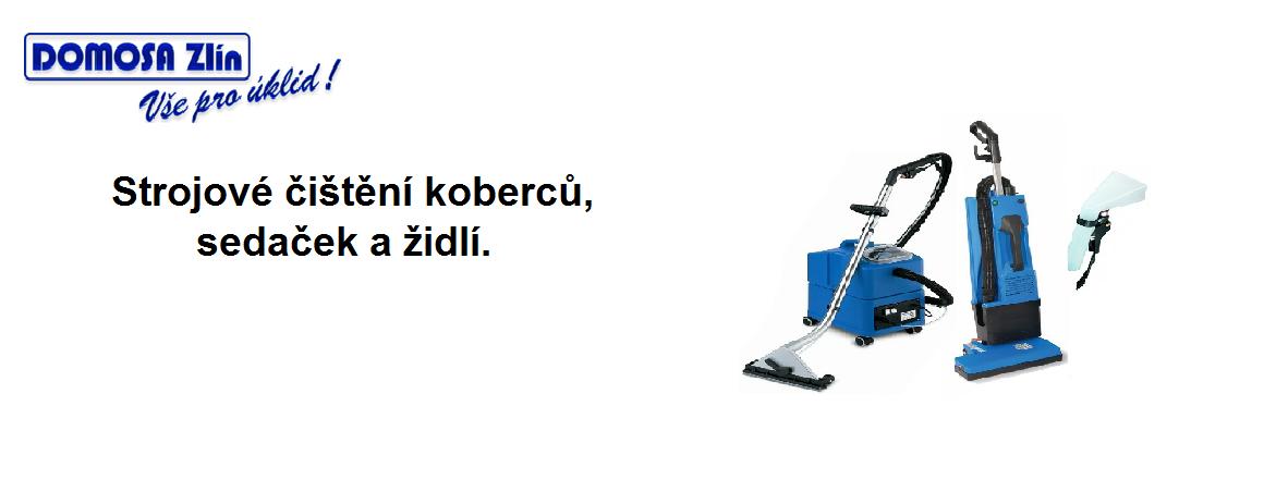 Strojové čištění koberců, sedaček a židlí.