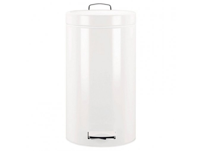 Odpadkový koš nášlapný kovový bílý 30 l