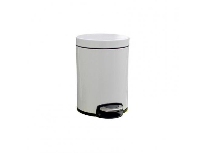 Odpadkový koš s pedálem SILENT, kovový, bílý, 5 l