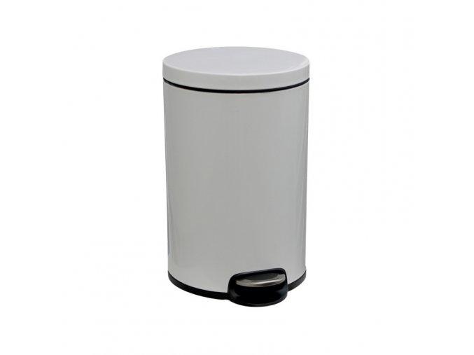 Odpadkový koš s pedálem SILENT, kovový, bílý, 20 l