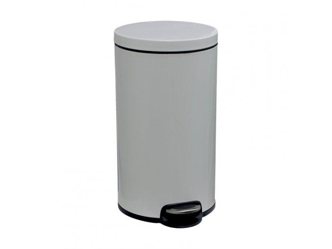 Odpadkový koš s pedálem SILENT, kovový, bílý, 30 l