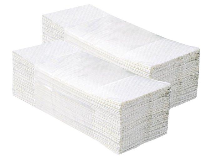 Jednotlivé papírové ručníky BÍLÉ 3750 ks, 2 vrstvé, skládané