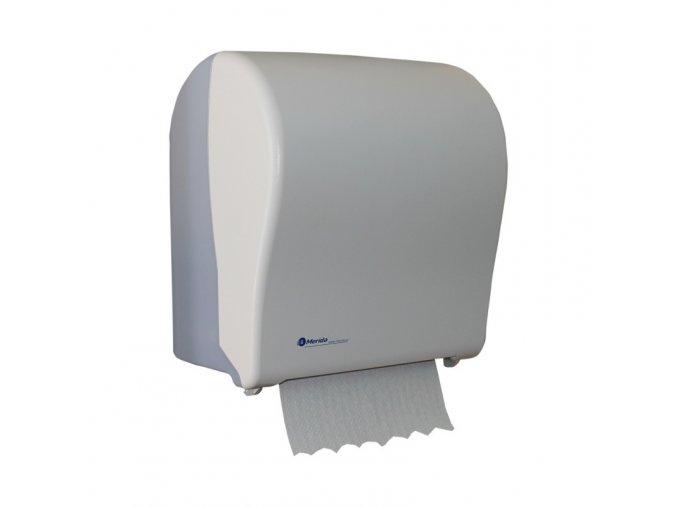 Mechanický podavač papírových ručníků MERIDA SOLID CUT, bílý, MAXI role