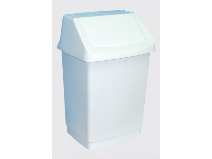 Odpadkový koš s víkem hranatý plastový bílý 25 l