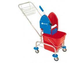 Úklidový vozík jednokbelíkový,pochromovaná konstrukce