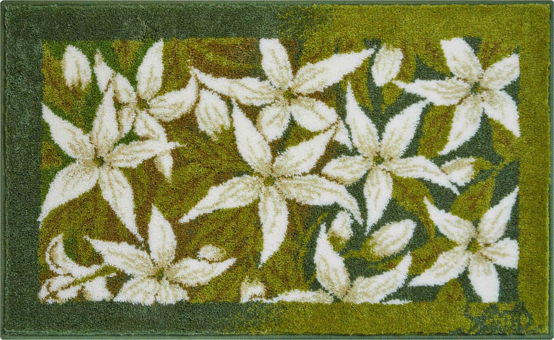 Zelená předložka do koupelny s květinami Jasmínu od Osmanyho Laffity