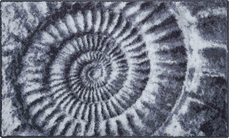 Šedá koupelnová předložka se vzorem zkameněliny ammonitu