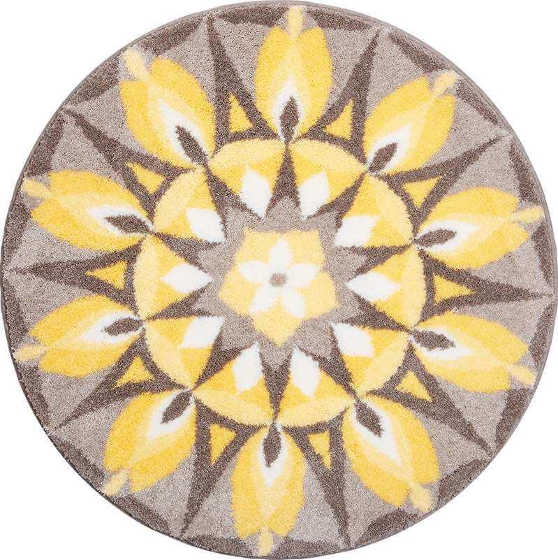 Kulatá předložka kruhová mandala žlutá