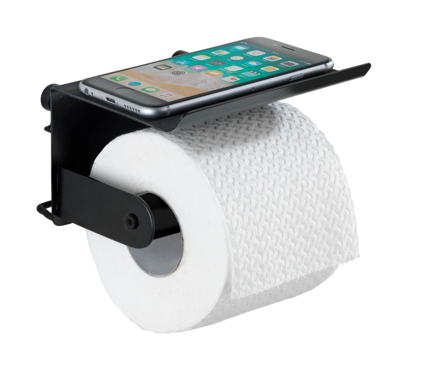 BEZ VRTÁNÍ Classic Plus - Držák WC papíru s poličkou, černý Z23885100