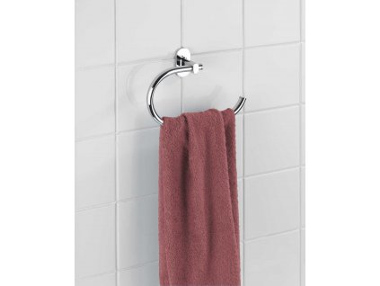 BEZ VRTÁNÍ PowerLoc RICO - Věšák na ručník, kovově lesklý