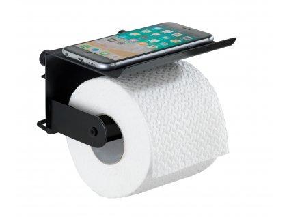 BEZ VRTÁNÍ Classic Plus - Držák WC papíru s poličkou, černý