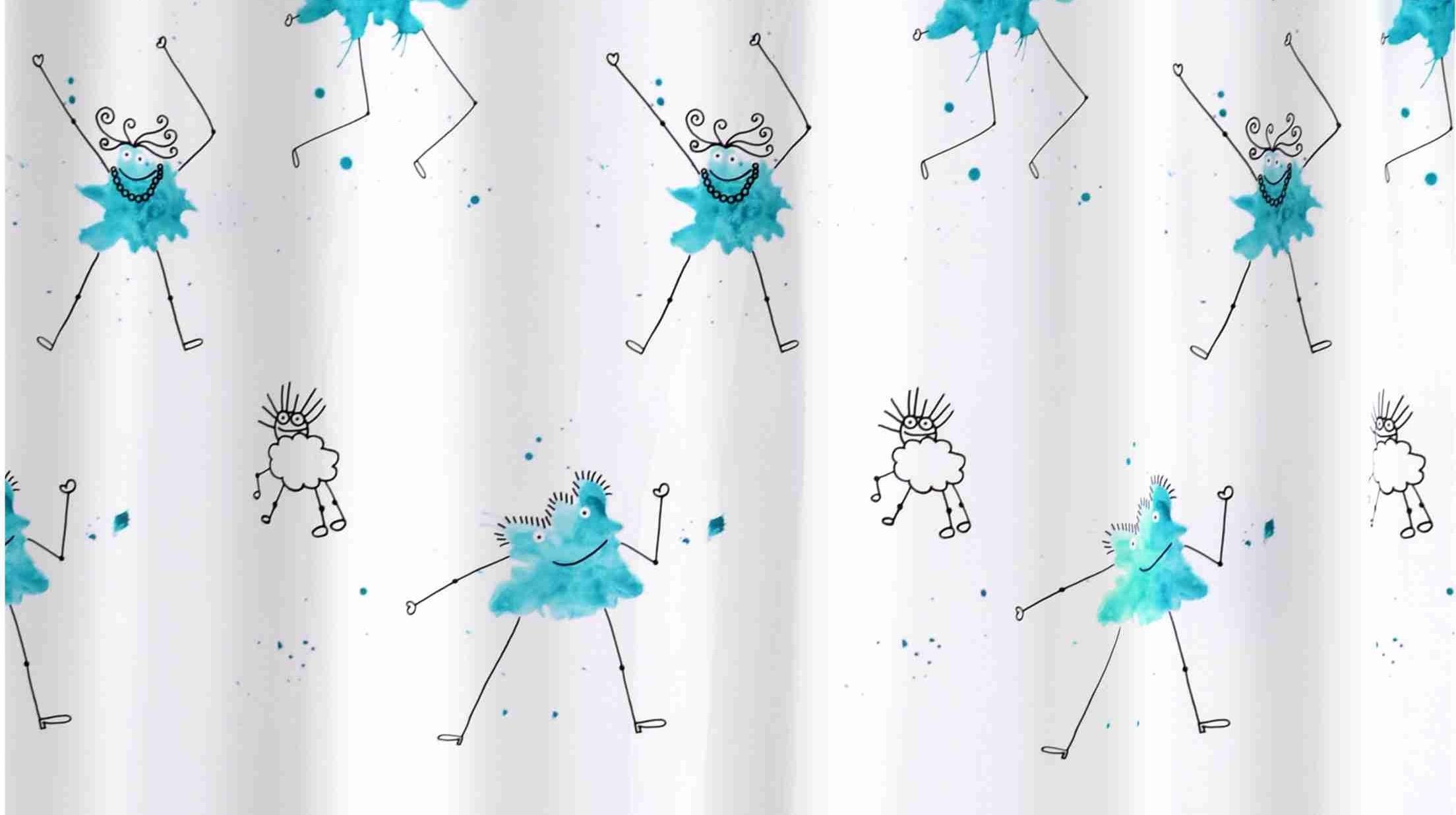 GRUND Sprchový závěs BACILLO modrý 180x200 cm
