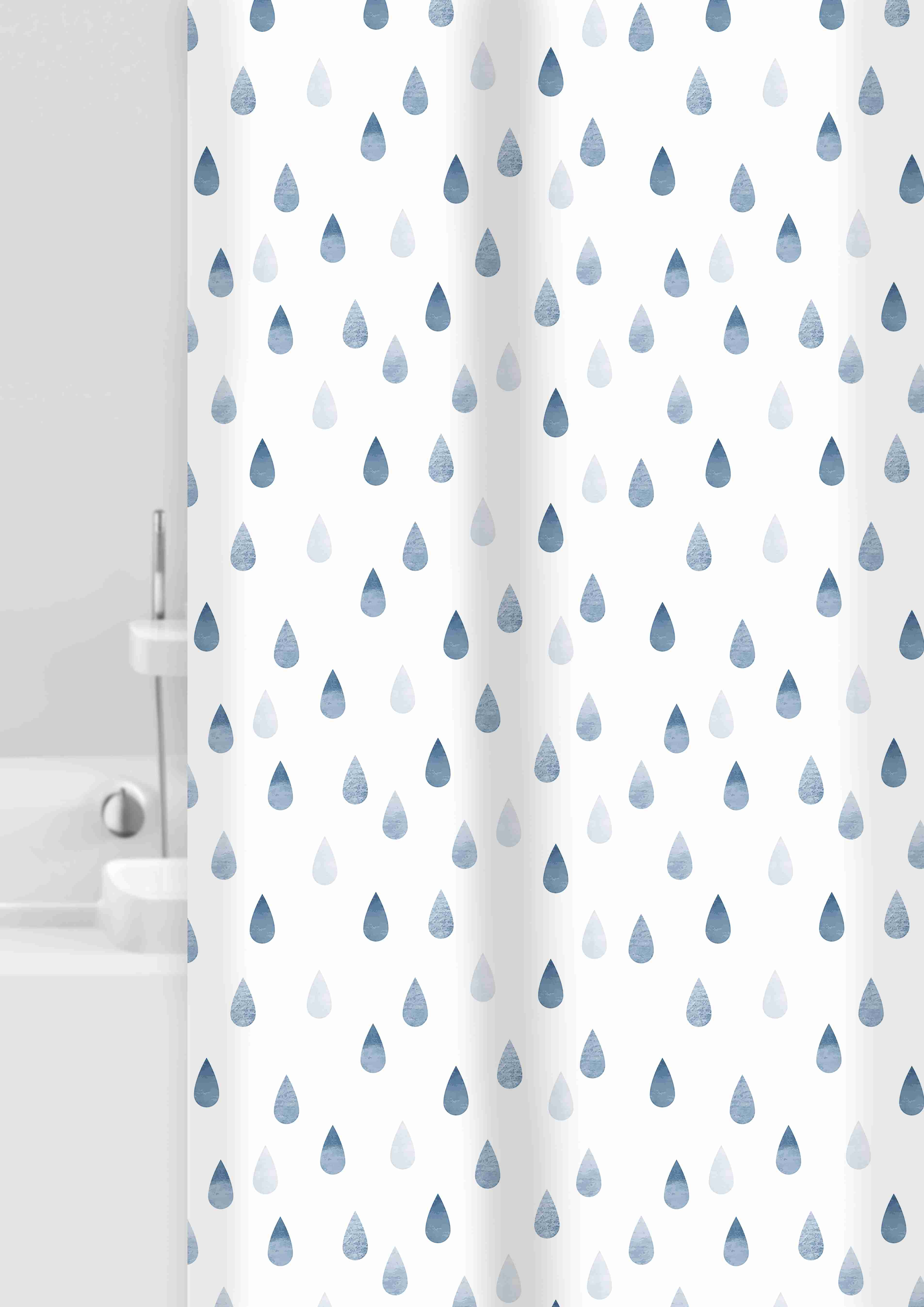 GRUND Sprchový závěs DROPS Bílá modrá 180x200 cm